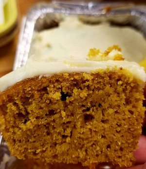 Pumpkin Cake with Cream Cheese Frosting in the Tray