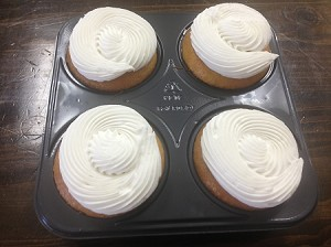 Cupcakes-Vanilla 4 pack with Vanilla Frosting