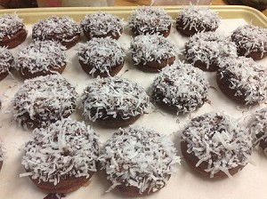 Chocolate Donut with Chocolate Dip and Coconut (6 pack). In Store Purchase